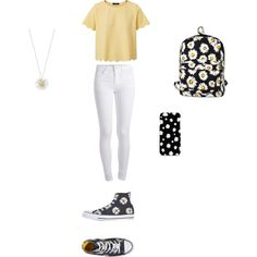 Flowers for School by smith-emily-1 on Polyvore featuring Pieces, Converse, Motel and Daisy Jewellery