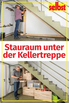 There is plenty of unused # storage space in the basement: with this # staircase cupboard, you can make optimal use of the space under the basement stairs! stairs cupboard selbst ist der Mann selbstmagazin Regale & Schränke There is plenty of unuse Garage Storage, Storage Spaces, Media Room Design, Attic Renovation, House Renovations, Basement Stairs, Under Stairs, Diy Garden Decor, Garden Ideas