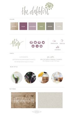 Love the color scheme: Dark purple, lighter lavender, and green accents   TheDabblist-BrandBoard-Saffron Avenue