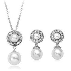 White Pearl Drop Pendant Necklace  #JewelryForSale