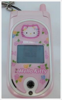 Cute pink Hello Kitty mobile phone.