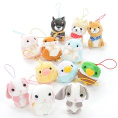 """Featuring three mini-sized plushies from the Mameshiba San Kyodai, Pote Usa Loppy, Coroham Coron, and Kotori Tai series each, this collection really is too much cuteness in one place! Standing at a wee 1.8"""", these babies are so small you can fit several of them in your hand~"""