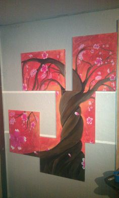 5 panel cherry blossom about 5'x4'