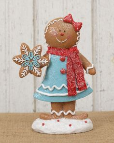 Gingerbread Girl in candy blue dress Christmas decoration