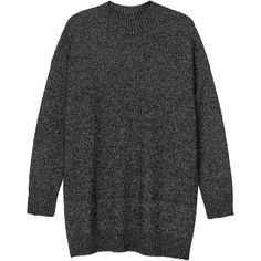 Monki Mirabelle knit top (2.905 RUB) ❤ liked on Polyvore featuring tops, sweaters, shirts, clothing - long sleeved tops, black magic melange, long knit tops, long sleeve tops, stretch shirt, long-sleeve shirt and knit shirt
