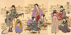 You have folks in Meiji-era kimonos, one woman in Heian or pseudo-Heian, a woman in a Victorian gown and bustle, and a female student in hakama. This page has a fascinating glimpse of the transition between kimonos and Western clothing. Including a guy in a kimono and bowler hat. Artist: Toyohara Chikanobu (豊原周延) (1838–1912), better known to his contemporaries as Yōshū Chikanobu (楊洲周延), was a prolific woodblock artist of Japan's Meiji period.