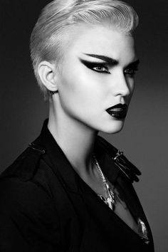 Cemetery group scene- Rachel Makeup-Love this futuristic look. Fierce!