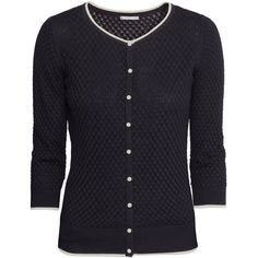 H&M Pattern-knit cardigan ($22) ❤ liked on Polyvore featuring tops, cardigans, outerwear, black, three quarter sleeve tops, 3/4 length sleeve tops, button front tops, h&m tops and 3/4 sleeve tops
