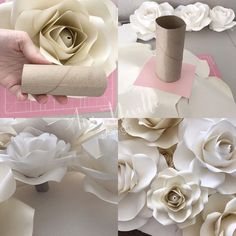 Option 2 you can use paper cups i purchased these at the dollar store glue it on the base of your paper flower or rose paperrosebackdrop paperroses paperrose backdrop paperflowers paperflower diy tutorials handmade handcut tips annnevilledesign – A Paper Flowers Craft, Large Paper Flowers, Paper Flower Wall, Crepe Paper Flowers, Giant Paper Flowers, Paper Roses, Flower Crafts, Diy Flowers, Flower Decorations