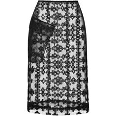 Simone Rocha Floral Check Pencil Skirt ($1,355) ❤ liked on Polyvore featuring skirts, black pencil skirt, knee length pencil skirt, black skirt, black floral skirt and lace skirt