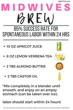 The midwives brew is a VERY effective labor inducing method. Natural labor techniques are all over the place! Try the Midwives Brew to get labor started! what does discharge look like before missed period, hot tub safe. Midwives Brew, Lemon Verbena Tea, Oil Mix, Thing 1, After Baby, Midwifery, Pregnant Mom, First Time Moms, Pregnancy Tips