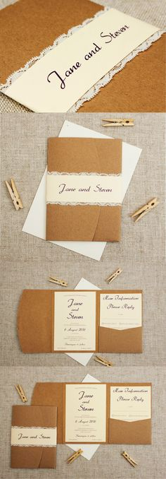 Rustic Cream and Lace pocketfold Wedding Invitation suite - see more pics at http://bemyguest.co.nz/archives/item/rustic-cream-lace-pocketfold-wedding-invitation/