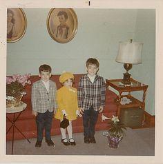 Antique Vintage Photograph Three Adorable Children Dresssed For Easter