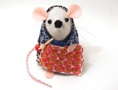 Crochet Mouse Ornament felt rat hamster mice cute gift for animal lover or collector - Lacey the Crochet mouse