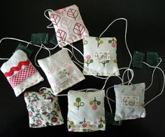 Hand stiched tea bags filled with lavender.