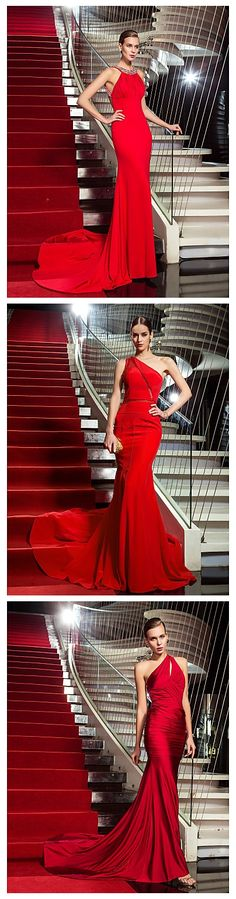 Mermaid style red dresses for fabulous parties. Love these gowns?