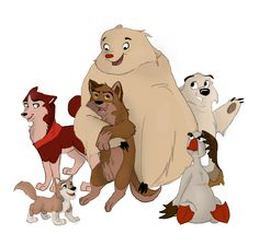 Balto and Co. (Jenna, Aleu, Balto, Muk and Luk, and Uncle Boris) My favourite movie forever and ever!! #Balto