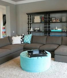Turquoise and grey couch decor grey family rooms, teal living rooms, family Grey Family Rooms, Teal Living Rooms, New Living Room, Home And Living, Living Room Decor, Small Living, Living Room With Grey Walls, Teal Rooms, Dark Rooms