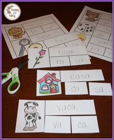 Write, Color and Cut Two-Syllable Spanish Words Bilingual Kindergarten, Bilingual Classroom, Bilingual Education, Preschool Kindergarten, Classroom Activities, Elementary Spanish, Teaching Spanish, Teaching Kids, Kids Learning