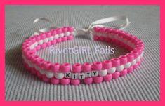 """""""Kitty"""" Pink/White Collar Choker Bondage Kandi Necklace by RivetGiRL - Kandi Photos on Kandi Patterns"""