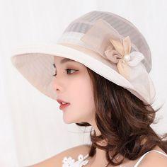 14144d1ed12 Women Summer Wide Brim Foldable Sunscreen Bow Bucket Cap Double-side Beach Sun  Protective Visor