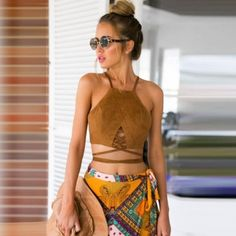 New Fashion Women Sexy Lady Halter Strap Off Shoulder Backless Bandage Solid Camisole Vest Crop Top
