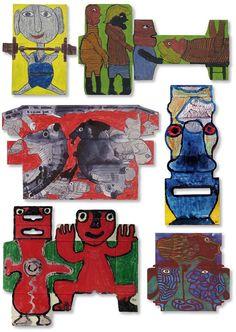 Der französische Künstler Pierre Albasser benutzt geöffnete Verpackungen als Malgrund für seine Arbeiten und lässt sich von den sonderbaren Formen bei der Wahl seiner Sujets inspirieren. Durch seine humorvollen Arbeiten huscht der Schalk – obwohl farbig, sind sie in dieser Haltung den Zeichnungen von Ernst Kolb nicht unähnlich. Vergleichen Sie die Arbeiten der beiden Künstler miteinander auf der Webseite für Aussenseiterkunst.