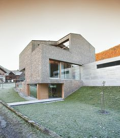 Haller Jürgen together with Peter Plattner designed the House Haller in Mellau, Austria. The entire design of this compact house conforms to the location a Architecture Building Design, Brick Architecture, Wood Facade, Aesthetic Design, Minimalist Home, Modern House Design, Beautiful Homes, Exterior, House Styles