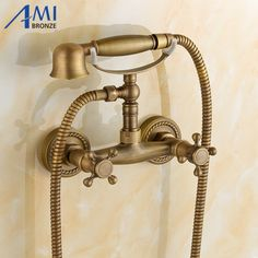 67.32$  Buy here - http://alinfx.worldwells.pw/go.php?t=32692924186 - Antique Brushed Brass faucets bathroom bathtub mixer tap faucet with telephone hand shower set Bath & Shower Faucets 67.32$