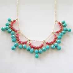Aqua Coral Bib Necklace Gold Aqua Blue Coral Statement por 10west