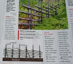 Hur man gör en gärdsgård, från Hus & Hem 8/2014 Pipe Fence, Ranch Farm, Swedish Style, Wooden Fence, Organic Farming, Permaculture, Garden Projects, Compost, Gazebo