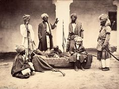 A group of Pathans from the Peshawur Valley. Samuel Bourne was one of the most famous photographers of India in the in an age when taking photos outside was a 'cumbersome and difficult process', auctioneer Chris Albury said Most Famous Photographers, Mohenjo Daro, Ancient Jewelry, Pakistan, 19th Century, Arms, History, Painting, Image