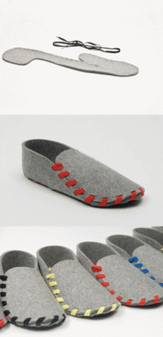 Team Lasso is raising funds for Lasso: your very own must-have slippers for ultimate comfort on Kickstarter! Lasso is a pair of flat-packed slippers. Made from one piece of wool-felt with a leather sole and laced in the colour of your choice. Felt Crafts, Fabric Crafts, Sewing Crafts, Sewing Projects, Diy Crafts, Sewing Diy, Diy Projects, Ideas Paso A Paso, Alter Pullover