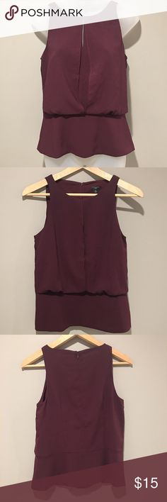 Ann Taylor Sleeveless Top Size 4P Ann Taylor Sleeveless Top Size 4P: wine color Sleeveless Top with Bolton style overlay. Zip closure at rear. EUC no visible signs of wear. Ann Taylor Tops