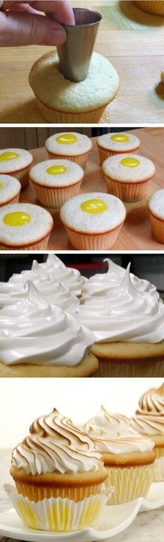Lemon meringue cupcakes - Never been a fan of Lemon Meringue but I might do this for my mom's bday some day