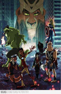 scar- Loki, aurora-captain america, beast-hulk, cobra bubbles-Fury,robin hood-hawkeye, kuzco-iron man, hercules-thor,..... mulan-black window?