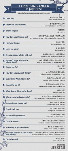 Infographic: expressing anger in Japanese part 2…