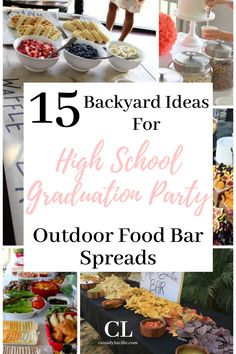 These food bar ideas are perfect for any high school graduation party. 15 delicious high school graduation party spread ideas. #graduation #highschool Teacher Graduation Party, Vintage Graduation Party, Outdoor Graduation Parties, Graduation Party Centerpieces, Graduation Ideas, Party Food On A Budget, Outdoor Party Foods, Bar Ideas, Diys