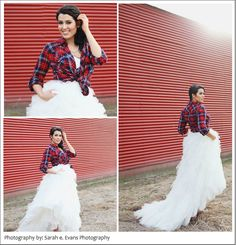 i love this idea. will definitely be wearing a flannel or denim shirt over my dress for our wedding.