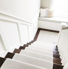 Stair Runner. Stair runner. Stair runner is Stanton Carpet, Atelier Collection, Matisse Style, color is Seaside. #Stairrunner #stair #runner