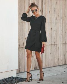 ce2aa89098e5 Davidson Long Sleeve Wrap Dress - Black – VICI Interview Style