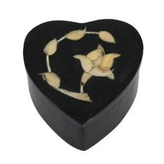 Heart Shaped Black Stone Decorative Box with Lid Inlay Flower Arrangements Handmade by Artisan, Set of 2