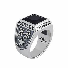 Harley Davidson News Harley Davidson Jewelry, Harley Davidson Merchandise, Harley Davison, Harley Davidson Dealership, Harley Gear, Gothic Rings, Silver Rings With Stones, Biker Rings, Leather Jewelry