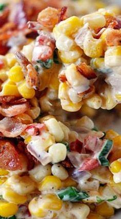 Creamy Confetti Corn with Bacon Cremiger Konfetti-Mais mit Speck Corn Salad Recipes, Vegetable Recipes, Frozen Corn Recipes, Canned Corn Recipes, Fresh Corn Recipes, Blue Cheese Recipes, Corn Salads, Bacon Recipes, Corn Dishes