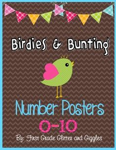 This set of classroom posters, created by Marisa Curtis of First Grade Glitter and Giggles, will be a great math reference in your classroom. Each sign includes the number name, number, and coordinating ten frame sample. The sweet birdies, bright numbers, and chevron background will be an excellent addition to your classroom decor.