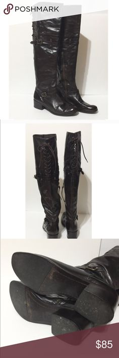 Pour La Victoire Lace Up Over the Knee Boots Victorella. Excellent used condition. Color is dark brown. No box. Pour La Victoire Shoes Over the Knee Boots