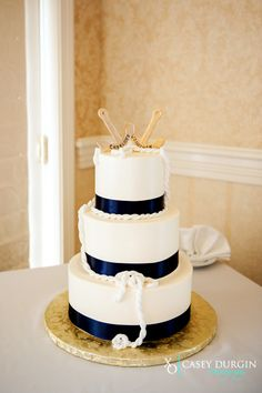 Nautical themed cake at a Stage Neck Inn wedding