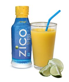 """This """"It Takes Two to ZICO"""" drink contains mango, lime juice, coconut water, and cayenne pepper. Spicy and sweet!"""