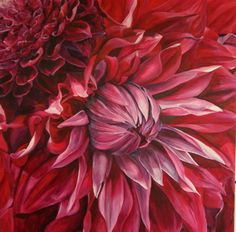 Flower Paintings by Sarah Caswell   Fabulous Pink Dahlias