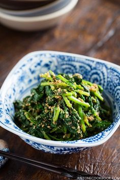 Spinach Gomaae (Japanese Spinach Salad with Sesame Dressing) | Easy Japanese Recipes at http://JustOneCookbook.com